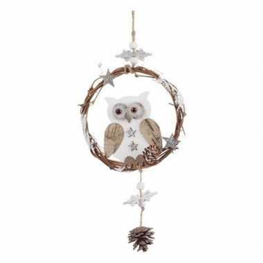 Kerst hangdecoratie houten uiltje 32 cm deurhanger/kerstkrans/raamdec
