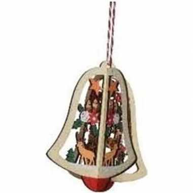 Kerst hangdecoratie kerstbel met rendier 10 cm van hout