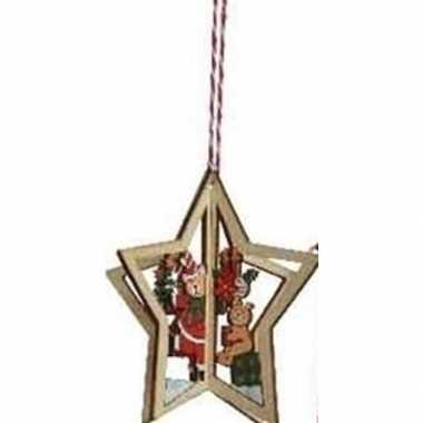 Kerst hangdecoratie kerstster met beren 10 cm van hout