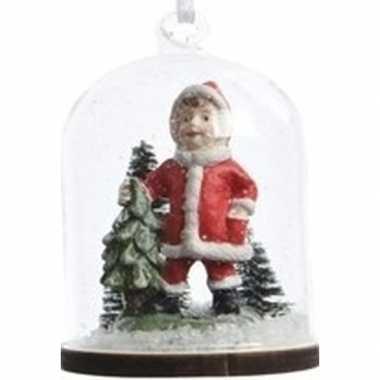 Kerst hangdecoratie meisje in kerstman pak in sneeuwbol 8 cm