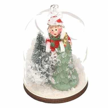 Kerst hangdecoratie meisje met boom in sneeuwbol 8 cm