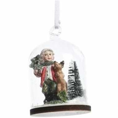 Kerst hangdecoratie meisje met rendier in sneeuwbol 8 cm