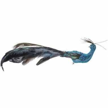 Kerst hangdecoratie op clip blauw pauwtje vogeltje 4 cm