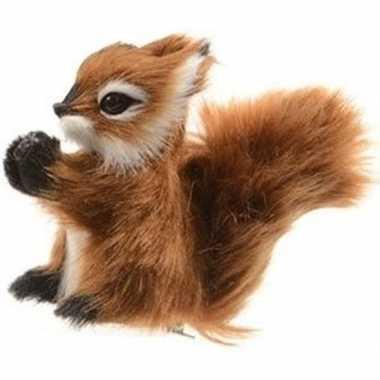 Kerst hangdecoratie op clip bruin eekhoorntje 8 cm