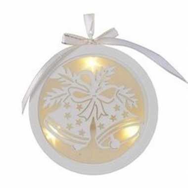 Kerst hangdecoratie platte bal met kerstbel en verlichting 12 cm