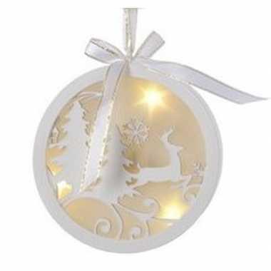 Kerst hangdecoratie platte bal met rendiertje en verlichting 12 cm