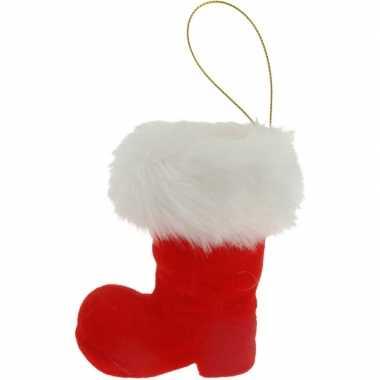Kerst hangdecoratie rode kerstlaars met bontrand 8 cm