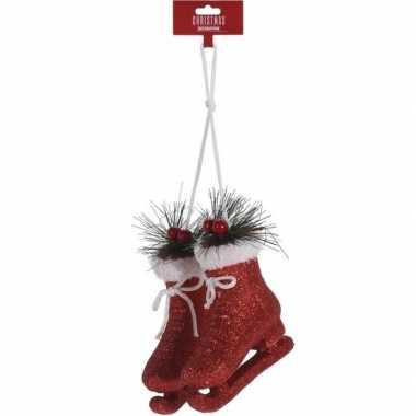 Kerst hangdecoratie rode schaatsen 12 cm