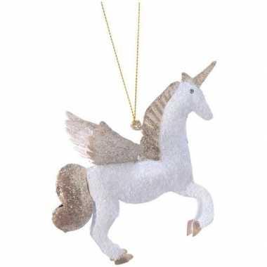 Kerst hangdecoratie wit/goud eenhoorntje 9 cm met glitters