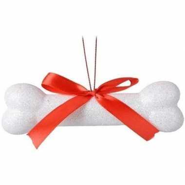Kerst hangdecoratie wit hondenbotje 14 cm met glitters