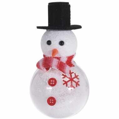 Kerst hangdecoratie wit/zwarte sneeuwpop 12 cm