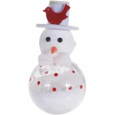 Kerst hangdecoratie witte sneeuwpop 12 cm