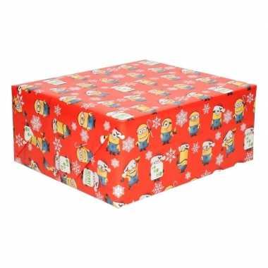 Kerst inpakpapier minions rood