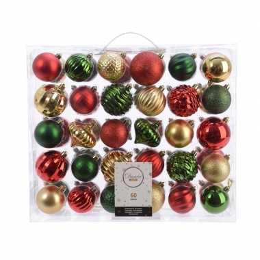 Kerst kerstballen mix 60 delig dennen groen/ rood/ goud
