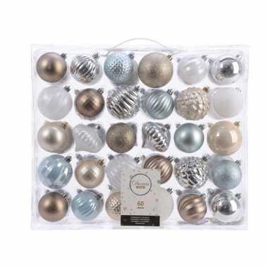 Kerst kerstballen mix 60 delig zilver/ champagne /bruin en blauw