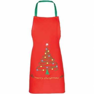 Kerst knutsel schort rood voor kids