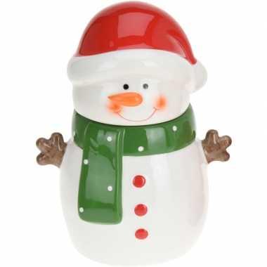 Kerst koekpot met sneeuwpop 23 x 15 cm