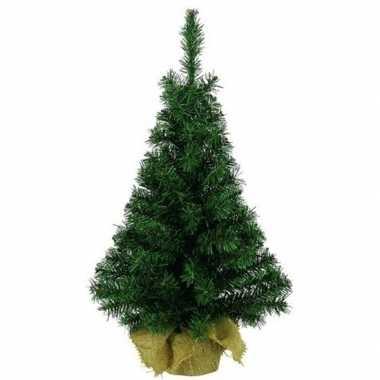Kerst kunstboom groen in jute zak 45 cm