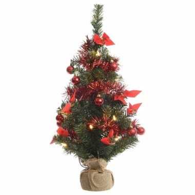 Kerst kunstboom groen/rood 60 cm met 20 warm witte lampjes