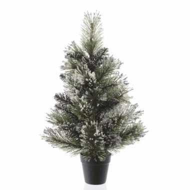 Kerst kunstboom met kunstsneeuw in pot 60 cm