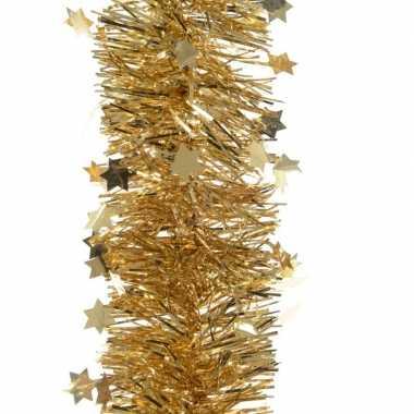 Kerst lametta guirlande goud sterren/glinsterend 10 x 270 cm kerstboo