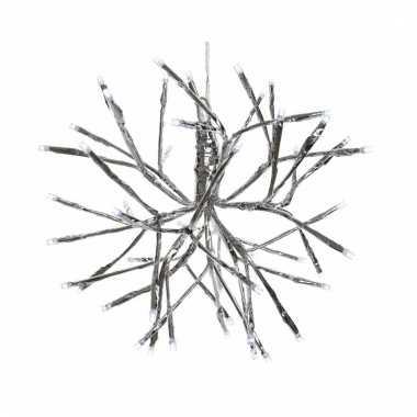 Kerst lamp zilveren takjes bal met 48 led lichtjes