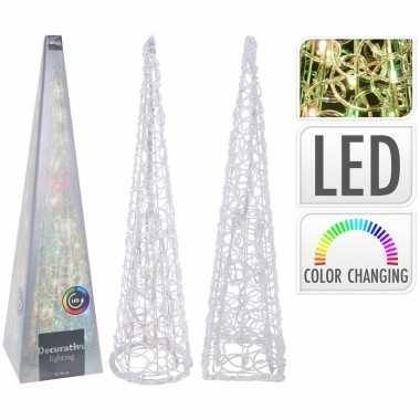 Kerst piramide 60 cm met van kleur veranderende led lampjes
