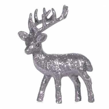 Kerst rendier zilver met glitters 10 cm