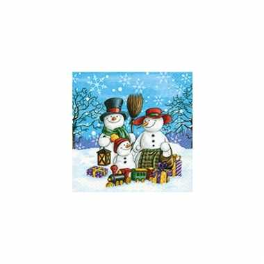 Kerst servetten met sneeuwpoppen