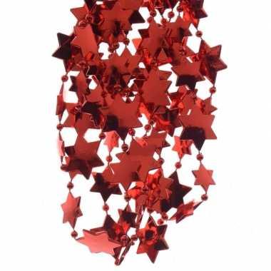 Kerst sterren kralen guirlande kerst rood 270 cm kerstboom versiering