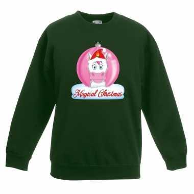 Kerst sweater / trui groen met eenhoorn voor meisjes