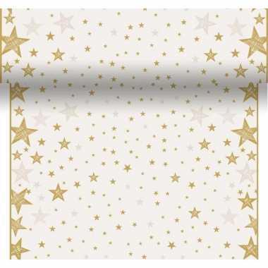 Kerst tafel witte tafelloper met gouden sterren