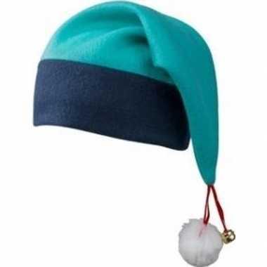 Kerst verkleedaccessoires kerstmutsen navy/turquoise blauw met bellet