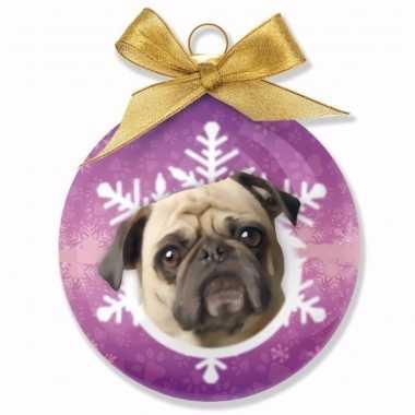 Kerstbal hond mops 8 cm