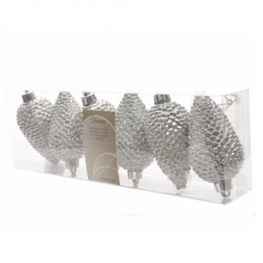 Kerstballen dennenappelvorm glitter zilver