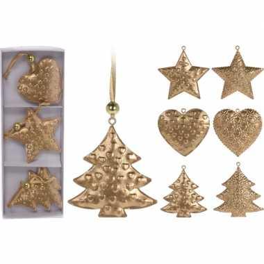 Kerstboom versiering goudkleurig hangers metaal 3 stuks