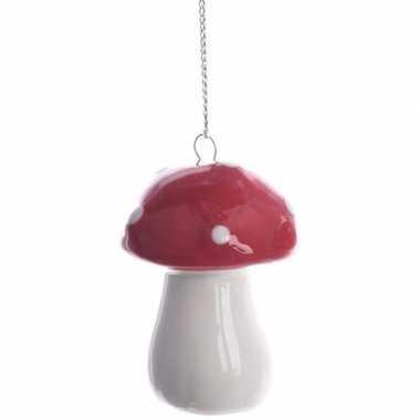 Kerstboomdecoratie hanger rood/wit paddenstoeltje 4 cm type 1