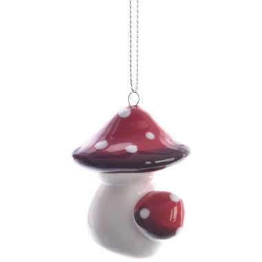 Kerstboomdecoratie hanger rood/wit paddenstoeltje 4 cm type 2