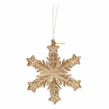 Kerstboomhanger sneeuwvlok goud glitters type 1