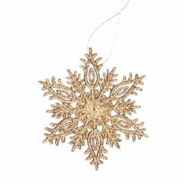 Kerstboomhanger sneeuwvlok goud glitters type 3