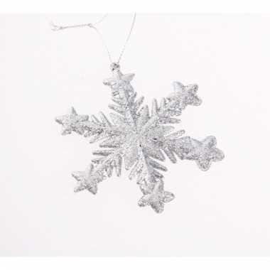 Kerstboomhanger sneeuwvlok zilver glitters type 1