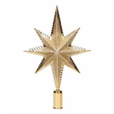 Kerstboompiek ster vorm goud 19 cm