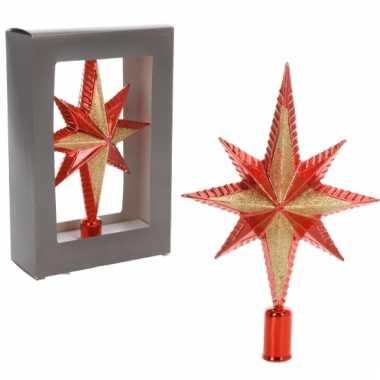 Kerstboompiek ster vorm rood 25 cm