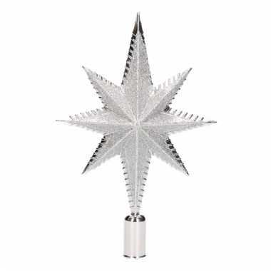 Kerstboompiek ster vorm zilver 19 cm