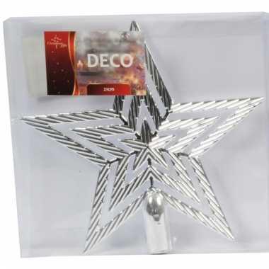 Kerstboompiek zilveren ster 21 cm