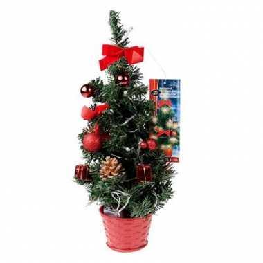 Kerstboompje 40 cm met rode versiering