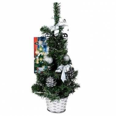 Kerstboompje 45 cm met zilvere versiering