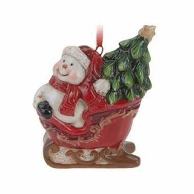 Kersthanger sneeuwman in slee 8 cm