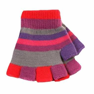 Kinder handschoenen met gekleurde streepjes zonder vingers