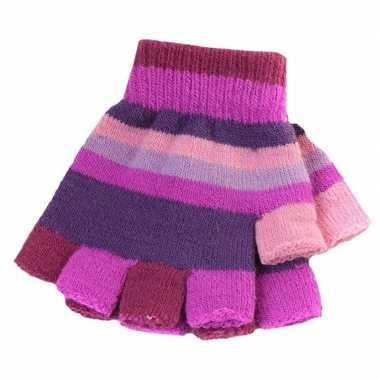 Kinder handschoenen met paarse streepjes zonder vingers